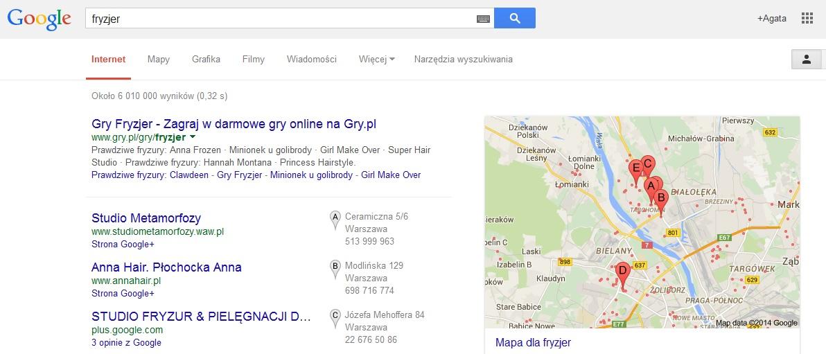 mapy Google Moja Firma wyszukiwanie usługi