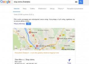 link do firmy w górnych wynikach wyszukiwania Google, wizytowka firmy na Google Maps